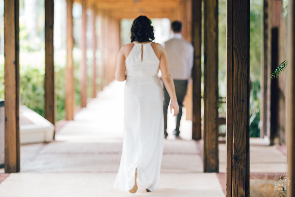 Bride walking up to her groom for the first look