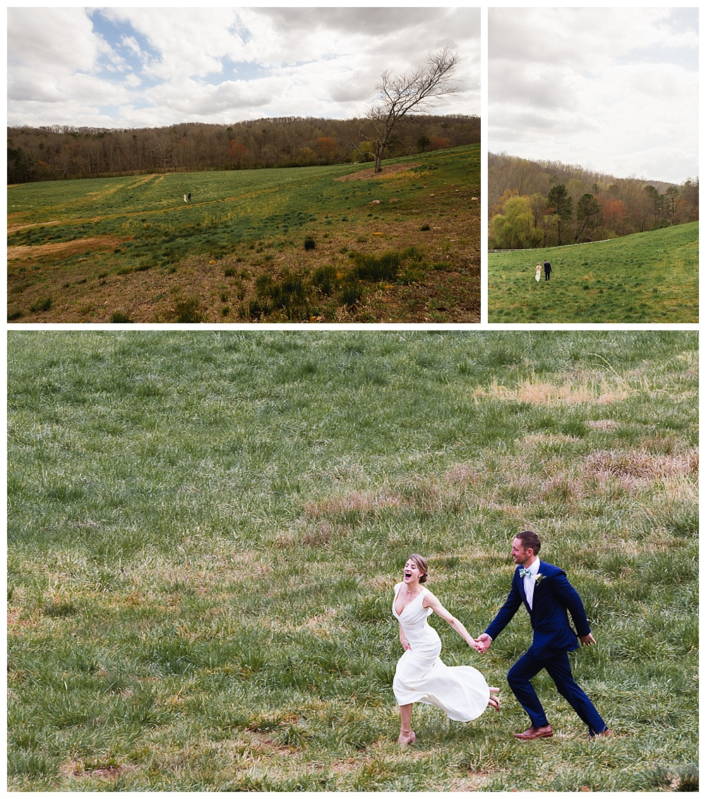 Bride and groom running through Greystone Estate field