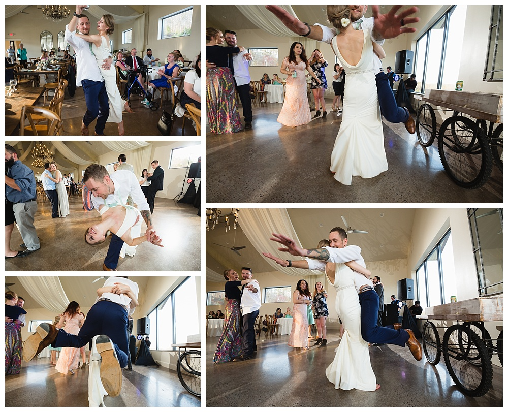 Bride carrying and swinging groom at Greystone Estate wedding.