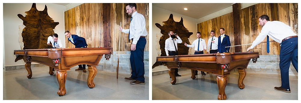 Groom playing pool with his groomsmen at Greystone Estate.