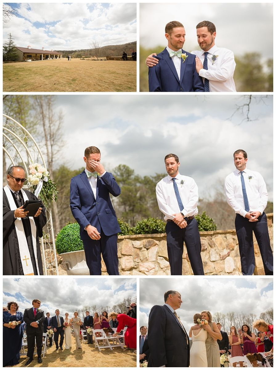 Groom reacting as he sees his bride for the first time walking down aisle at Greyston Estate