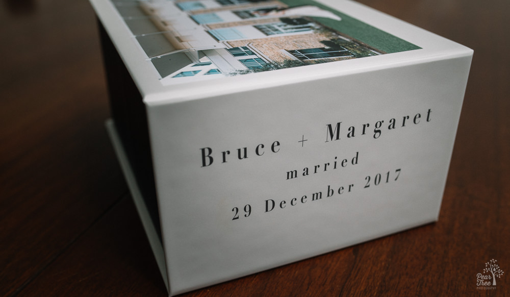 Custom wedding image box with bride + groom names and details