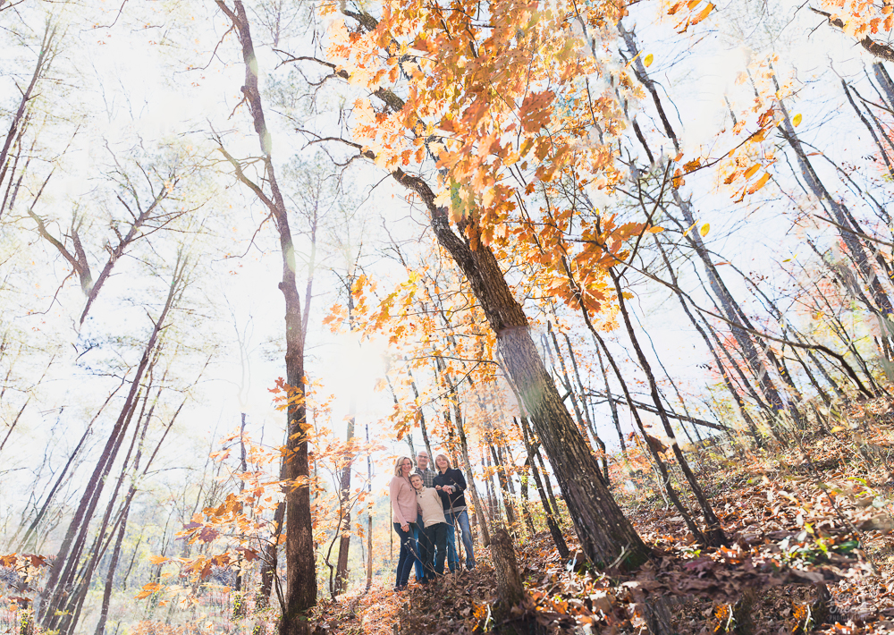 Wide angle brenizer image with family of four standing in woods with fall leaves