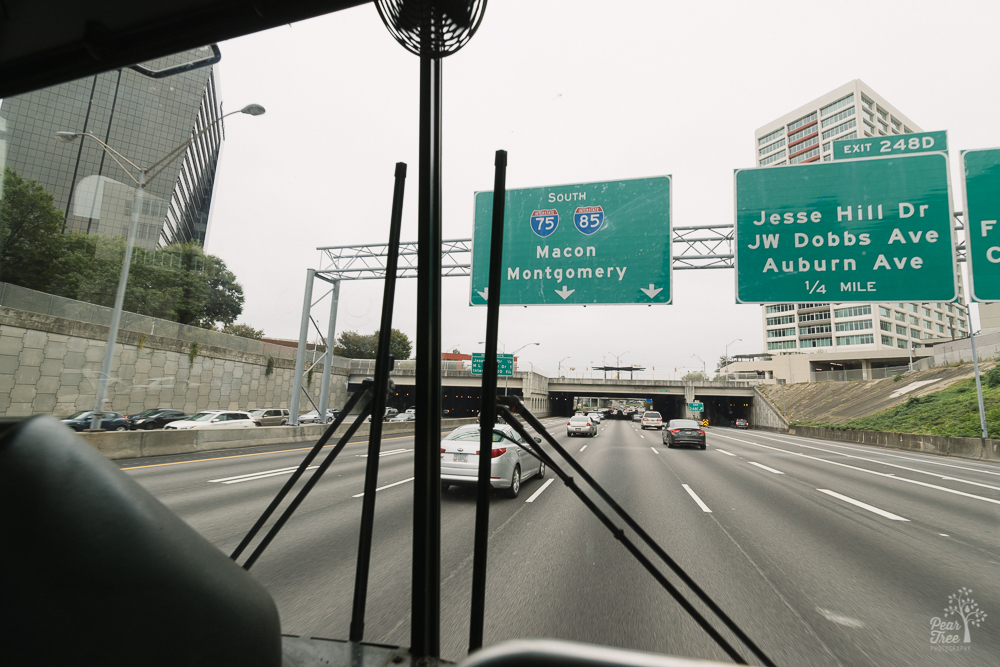 I-75 sign to Macon in downtown Atlanta