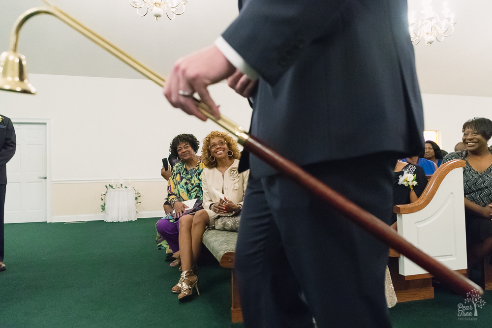Groom's mom and aunt in first pew
